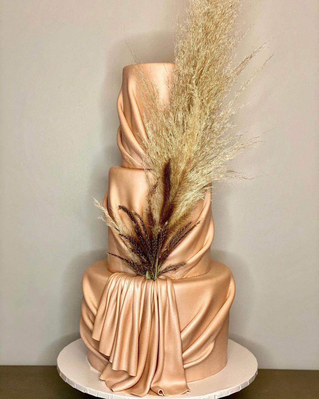 gold satin cake