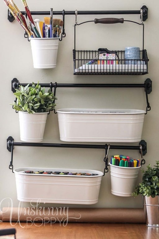 Tin Planters On A Rack