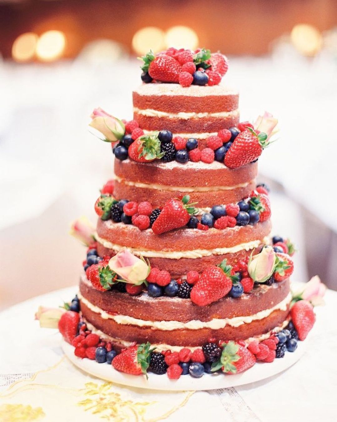 Roses and Berries Red Cake