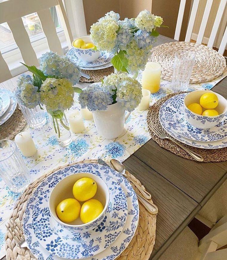 lemon and blue table decor