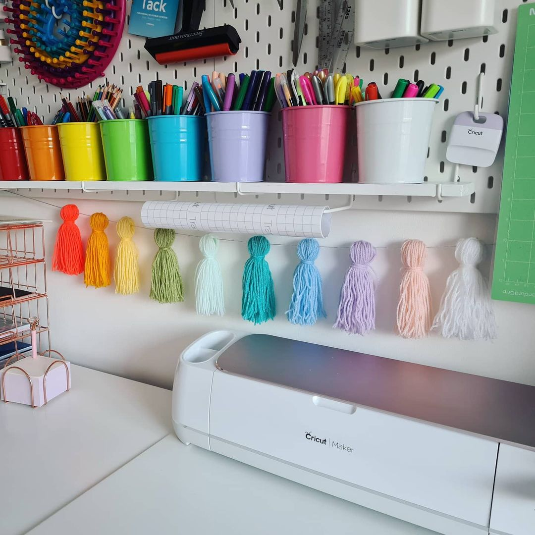 rainbow desk with pegboard