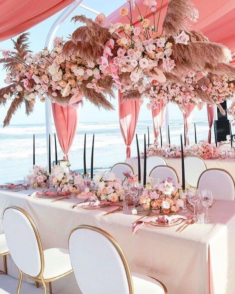 Blush, Pink, And Peach Wedding Reception