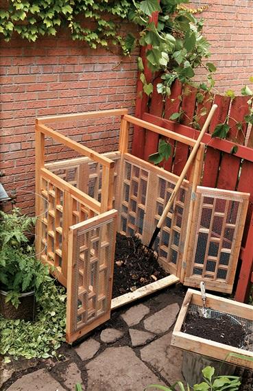 Wood Frame Compost Pile