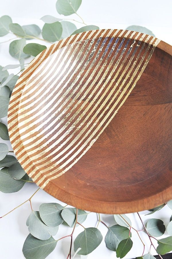 Striped Gold Foil Wooden Bowl