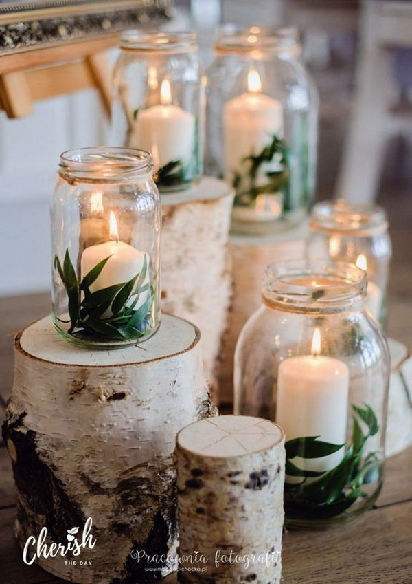 Wood, Leaves, And Candles In A Jar