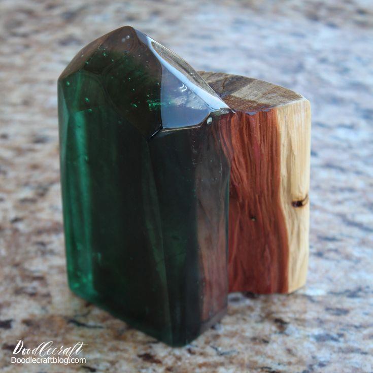 DIY Resin Geometric Wood Bookends