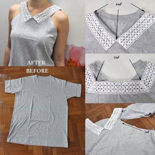 Sassy Collar On A Plain T-Shirt