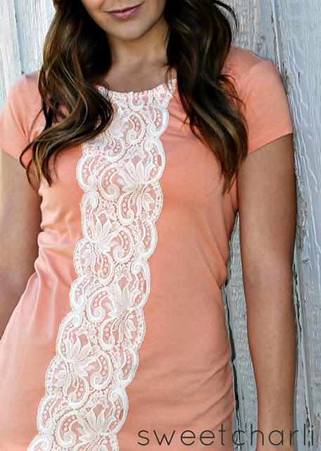 Lace Strip Down A Shirt