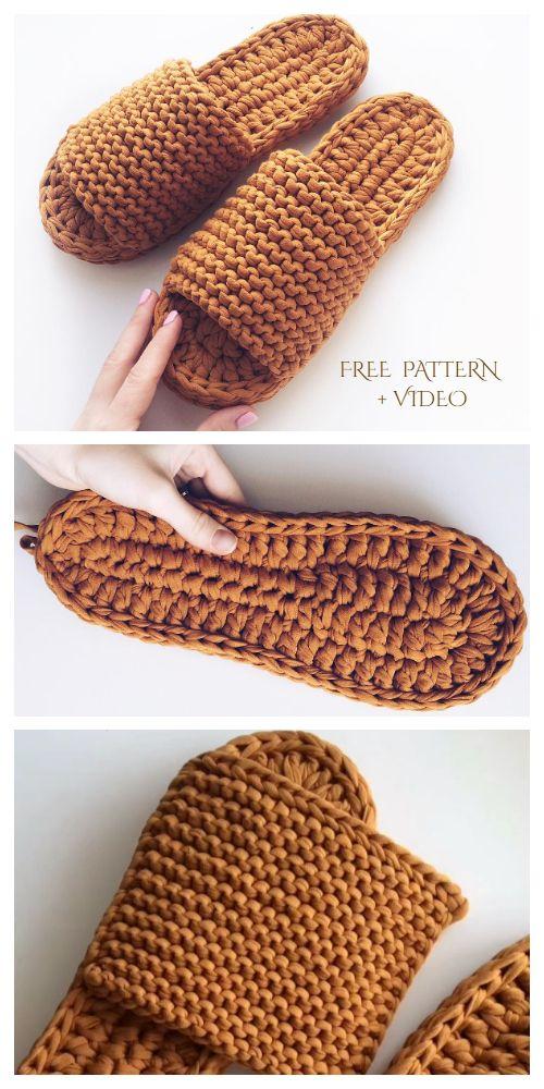 Chunky T-Shirt Yarn Crochet Slippers