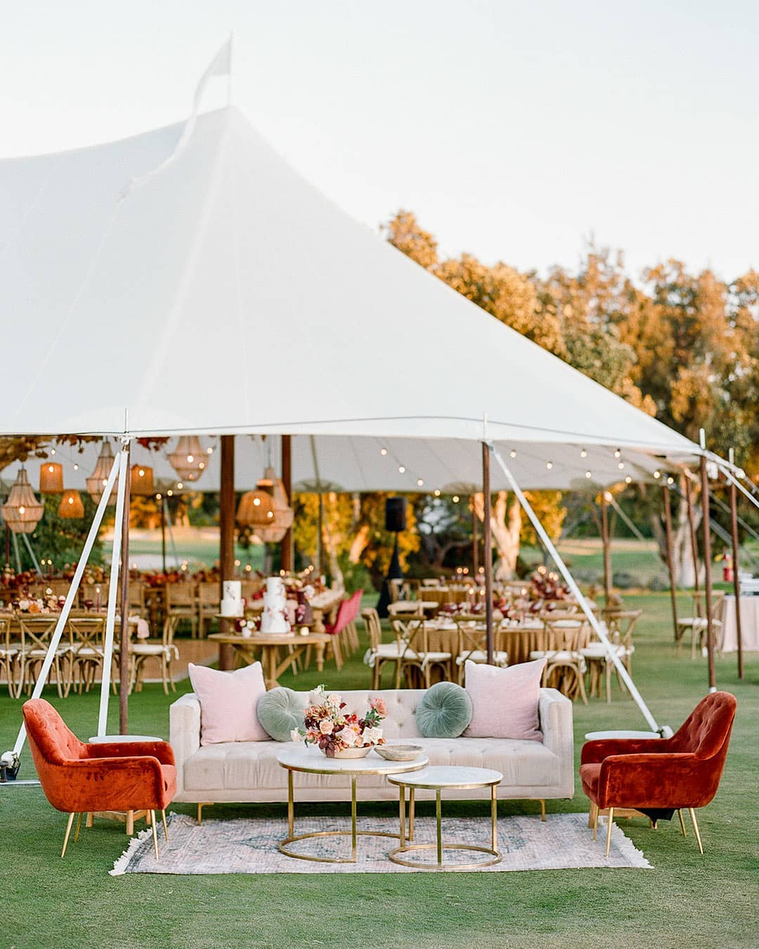 velvet couches at outdoor reception