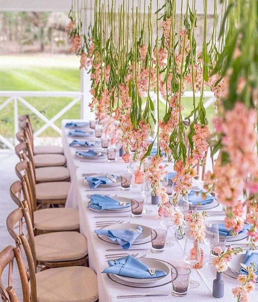 Hanging Coral Orchids Centerpiece