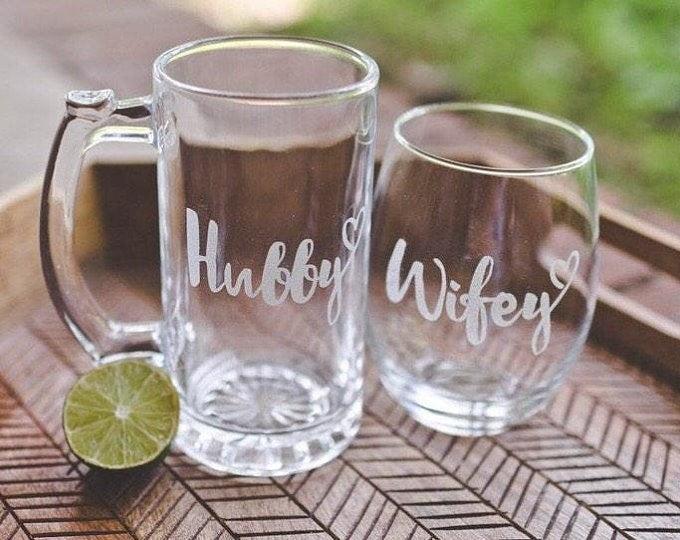 Hubby Wifey Glass Set