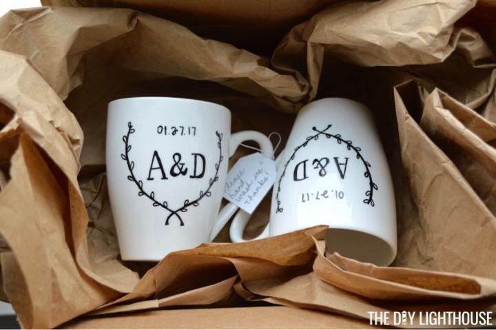 DIY Sharpie Wedding Mugs