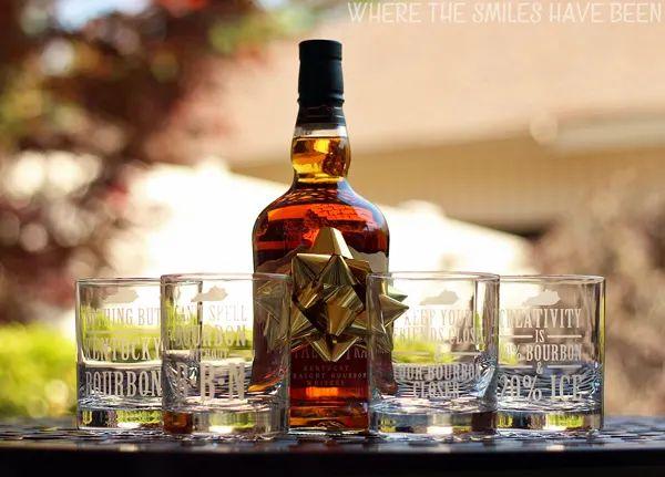 Bourbon Etched Glass Set