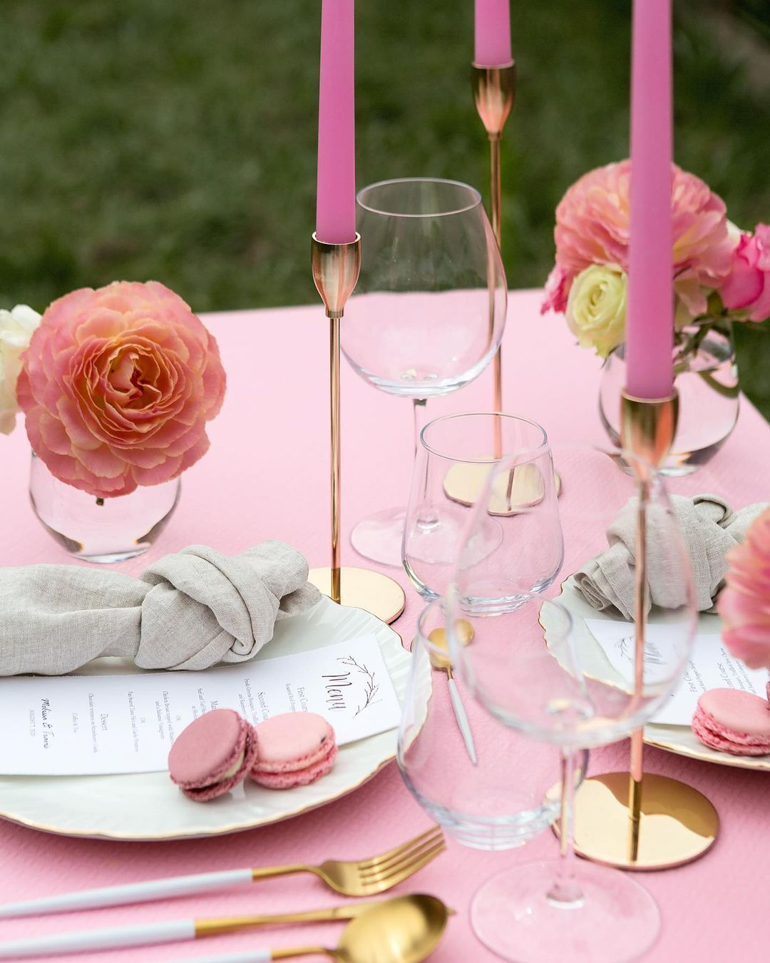 Pink Flowers, Pink Candles, And Pink Macarons