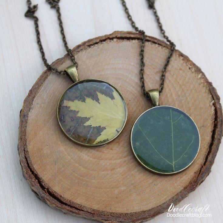 Resin Autumn Leaf Pendant