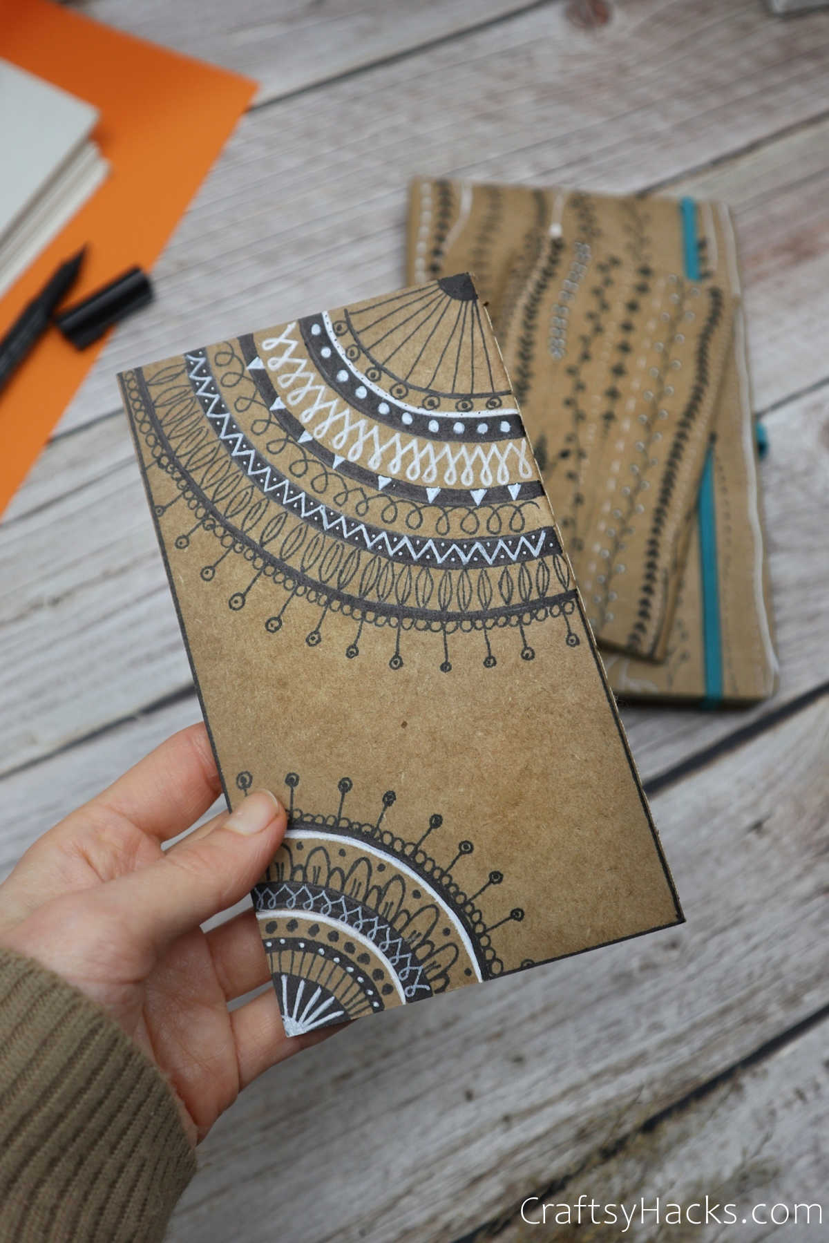 holding diy journal cover