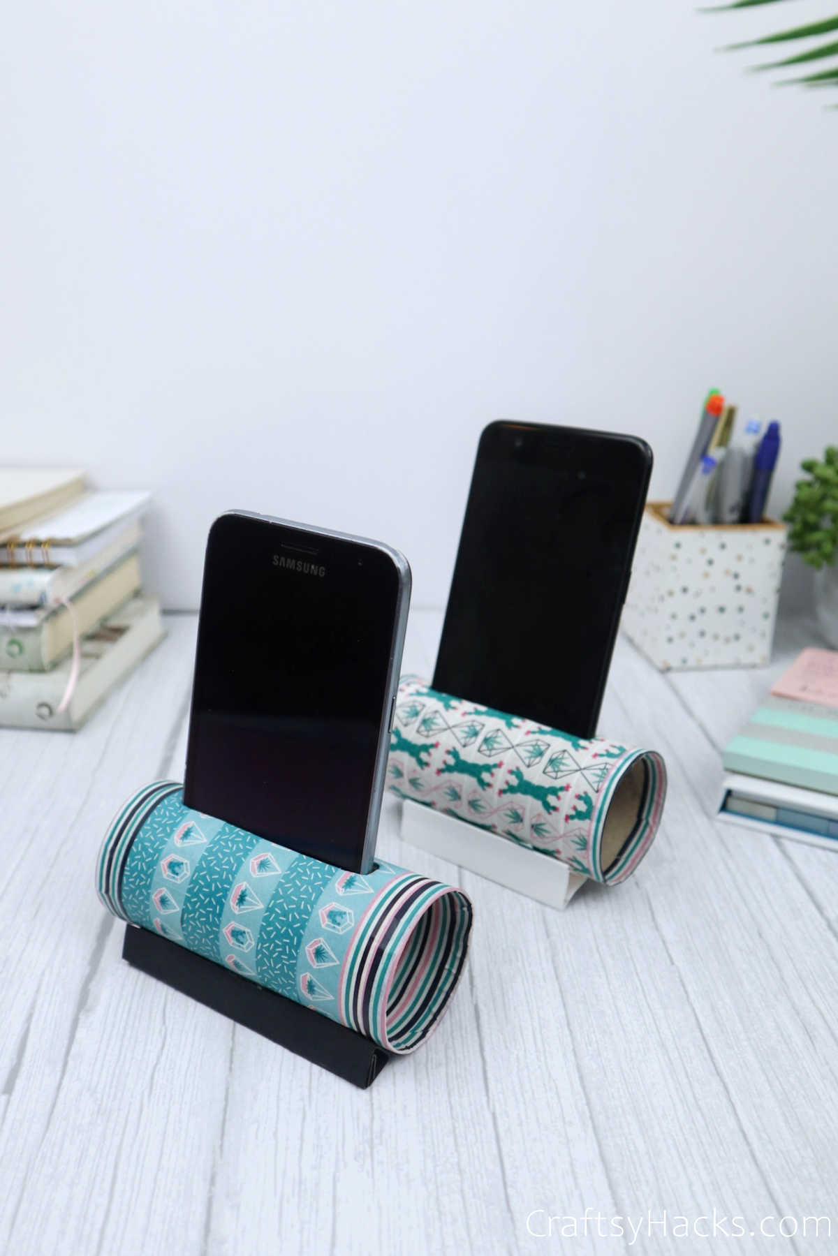 two DIY phone holders