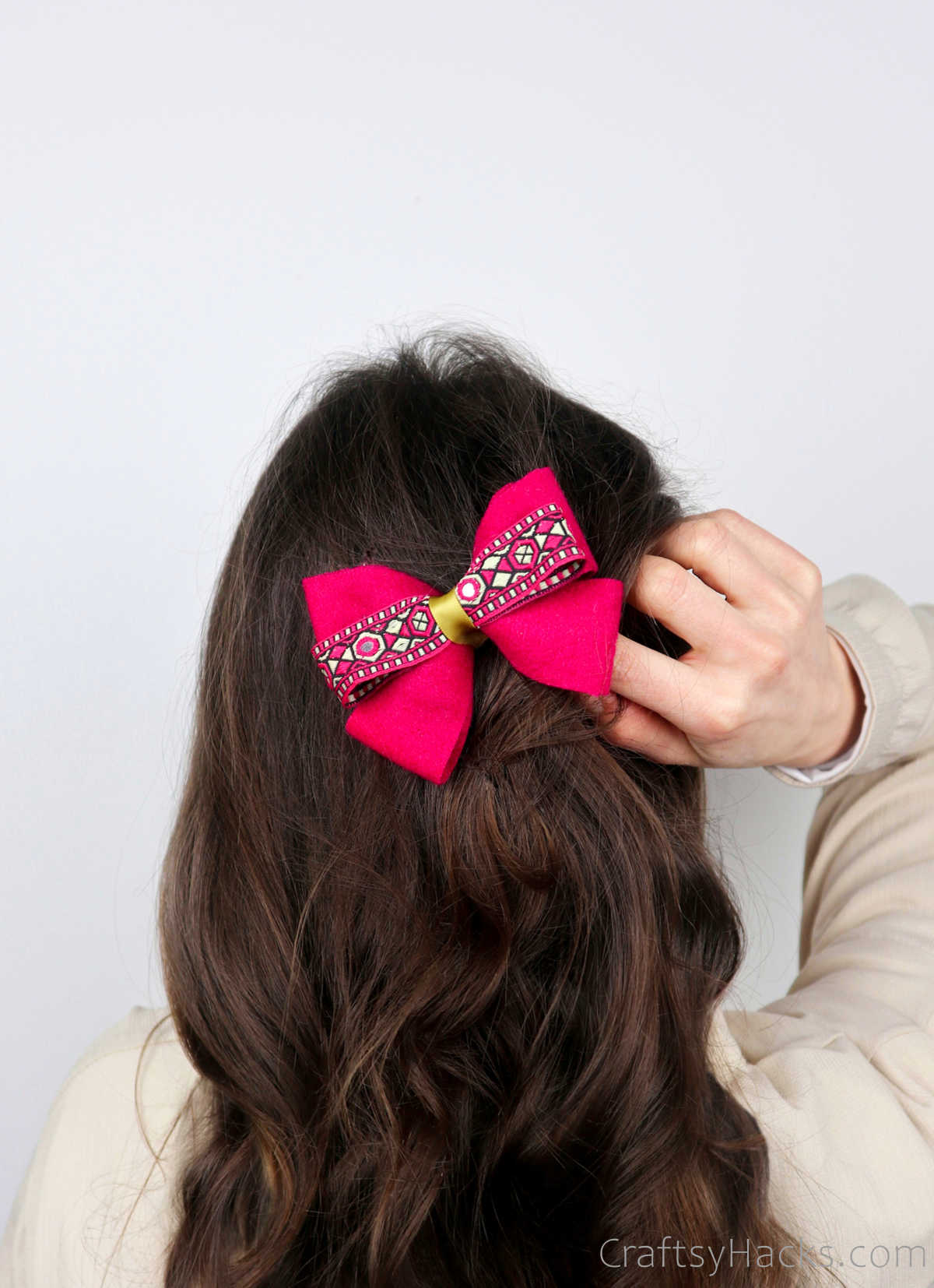 pink bow in hair
