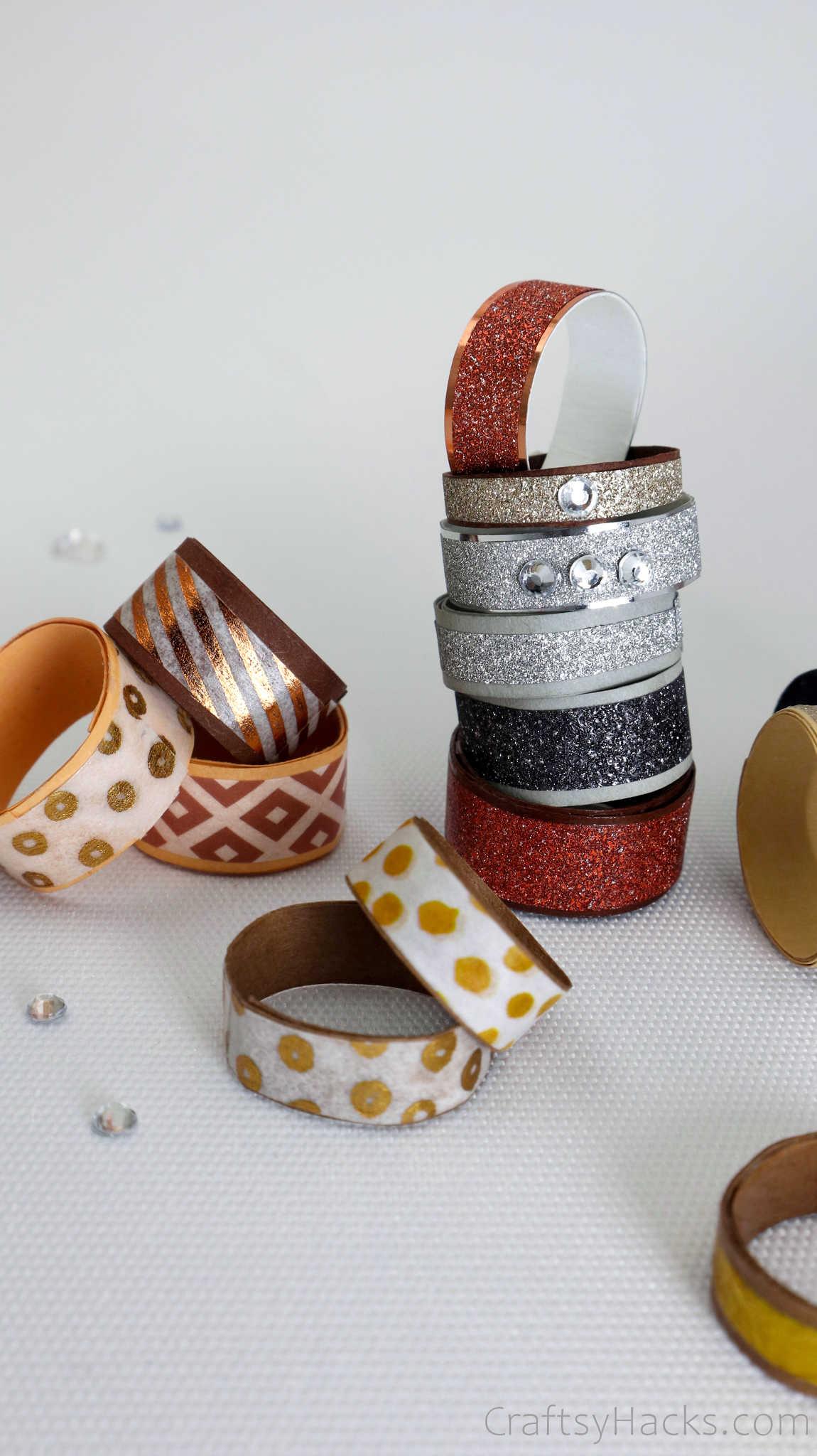 stack of DIY rings