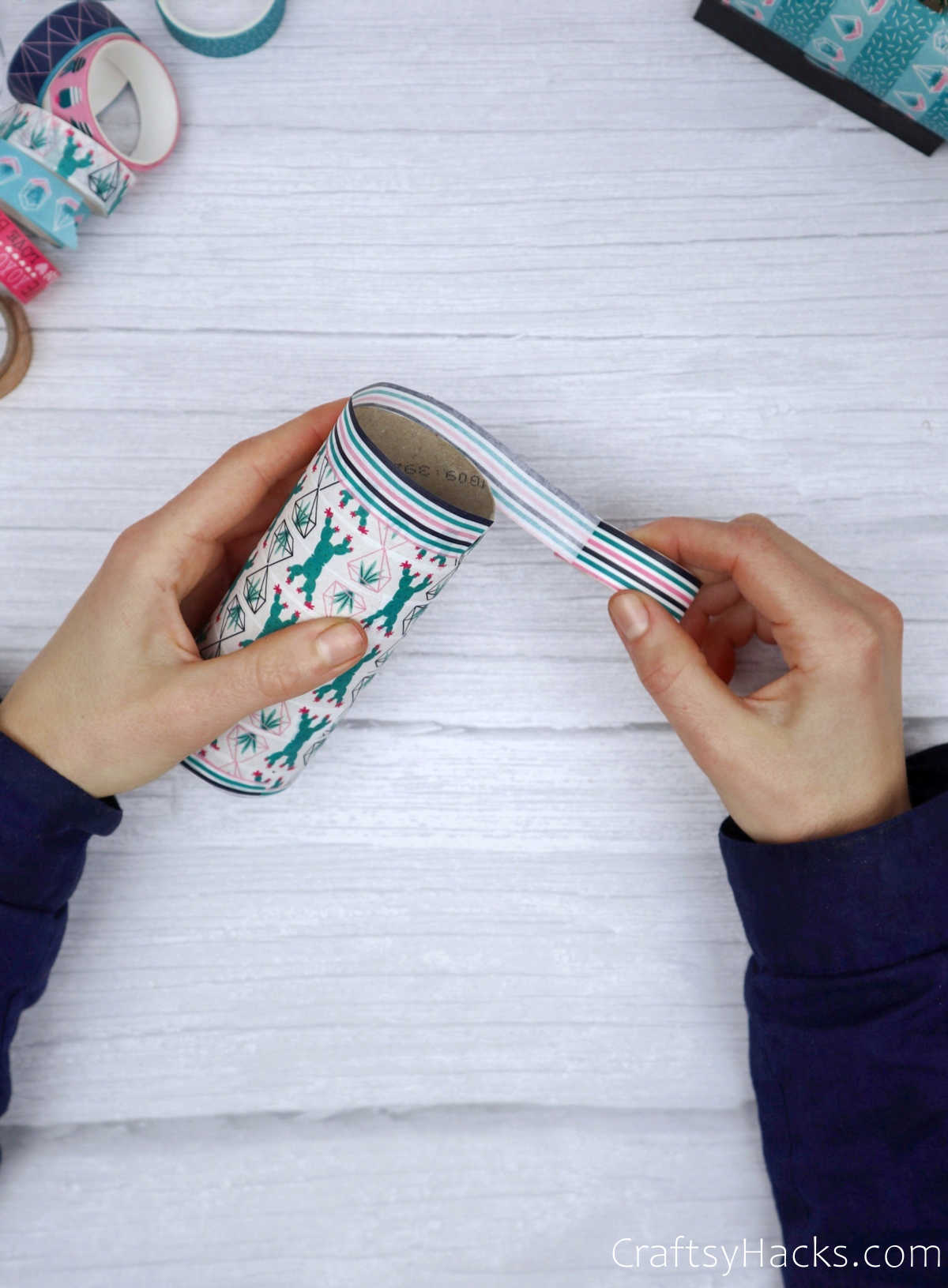wrapping edges with washi tape