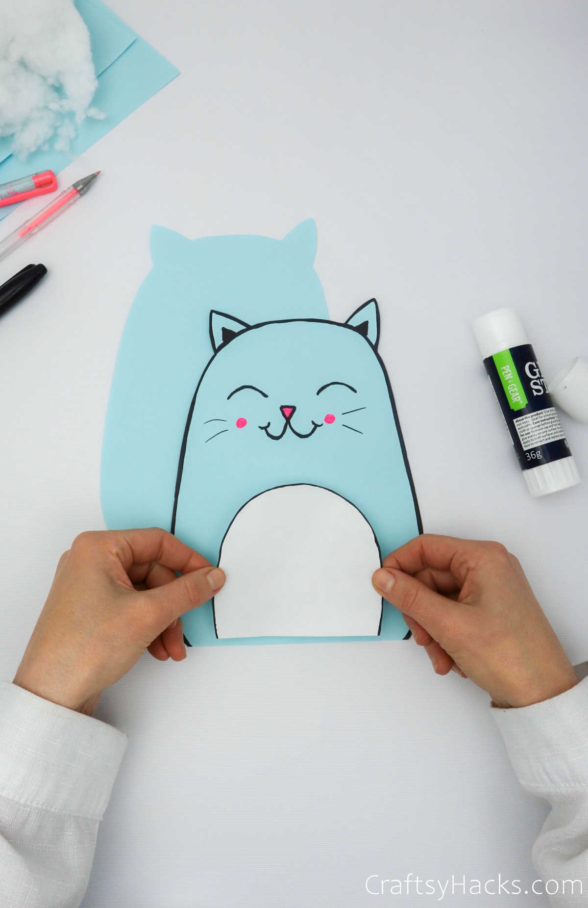 glueing on front of cat