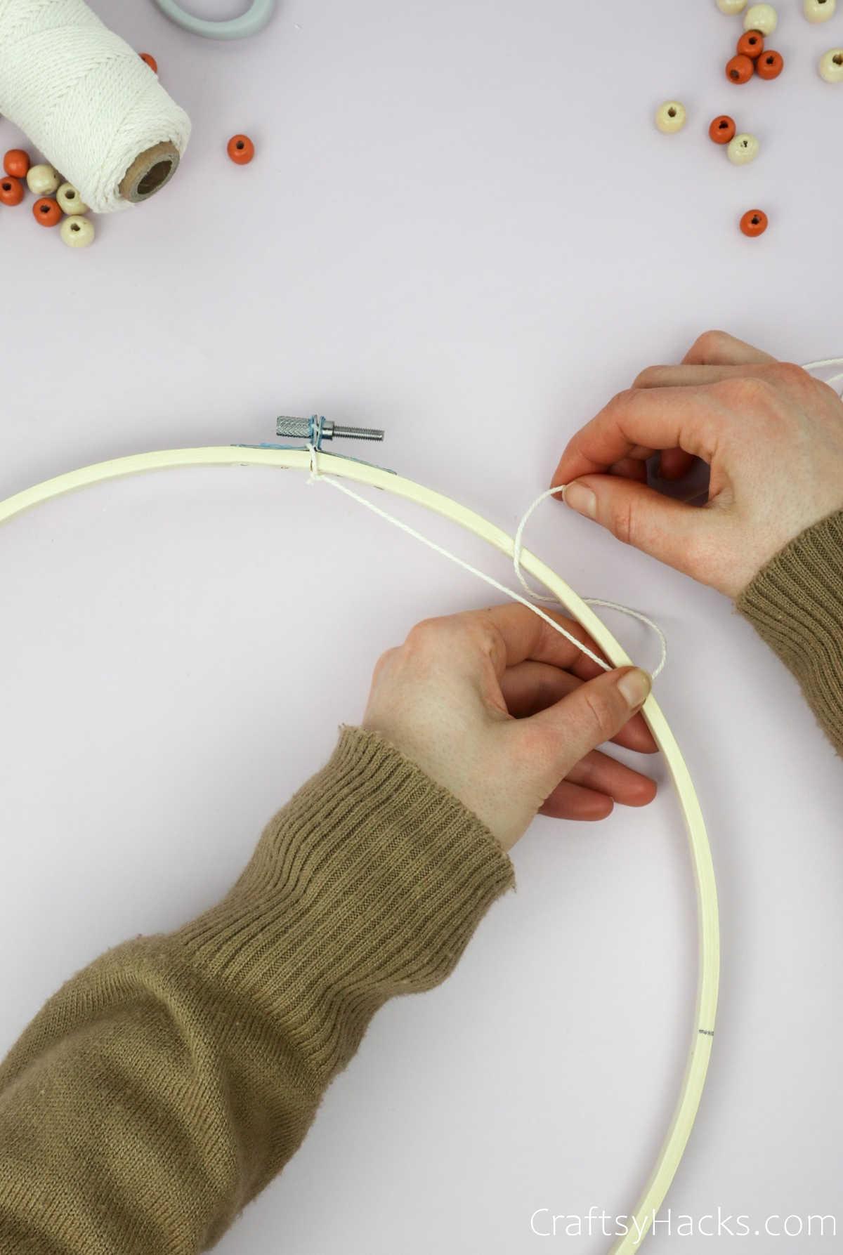 looping string around hoop