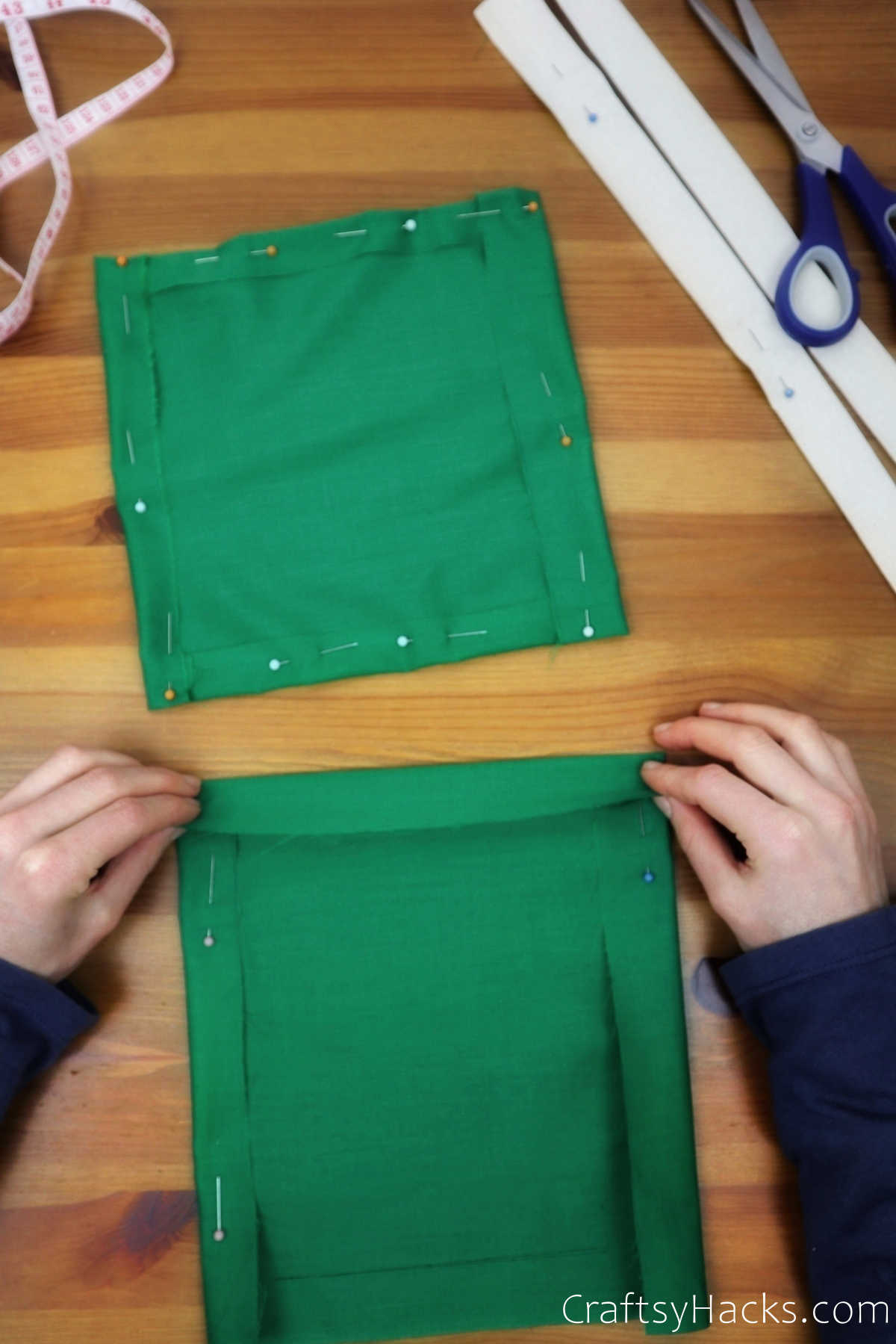 folded edges of green fabric