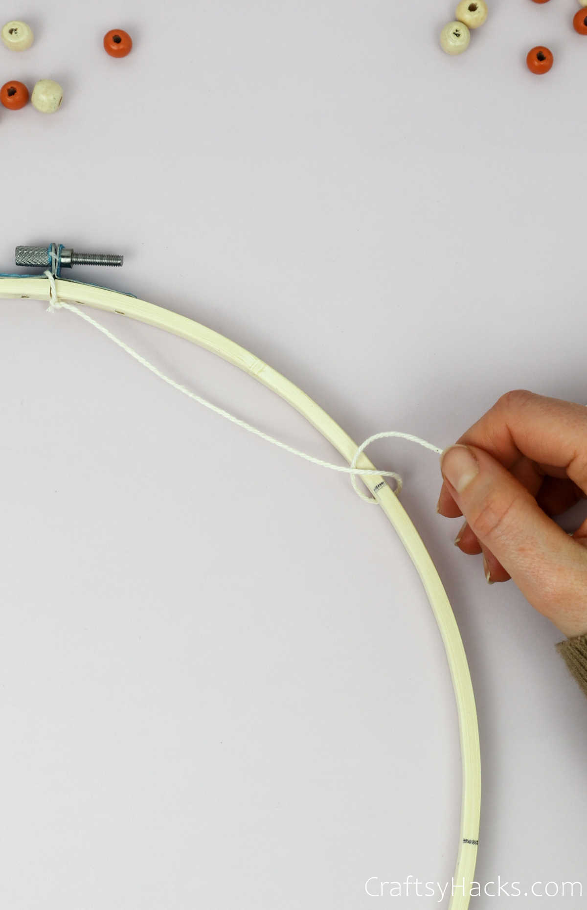 wrapping string around hoop