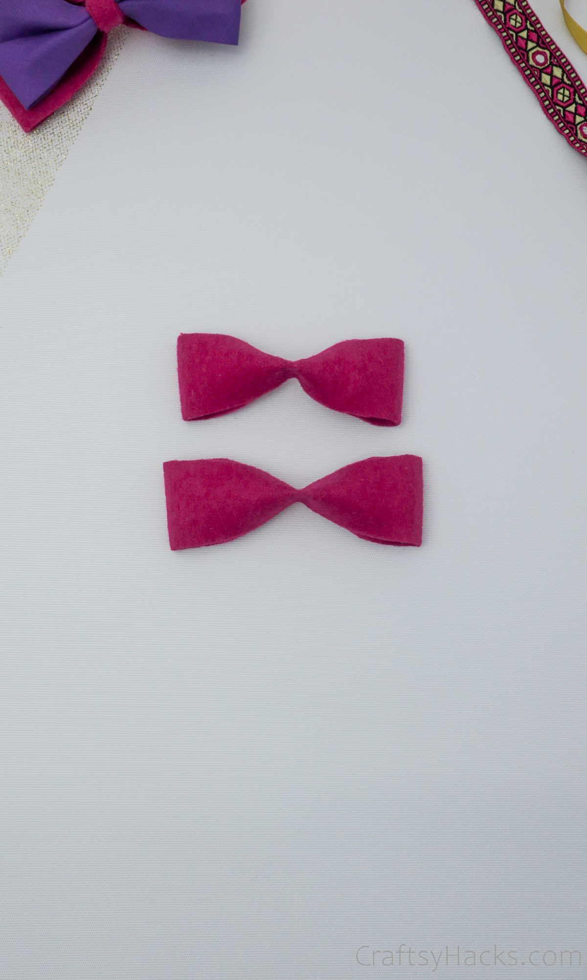 two pink bows