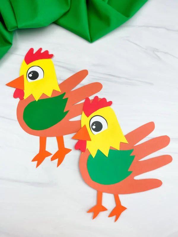 Handprint Rooster Craft For Kids