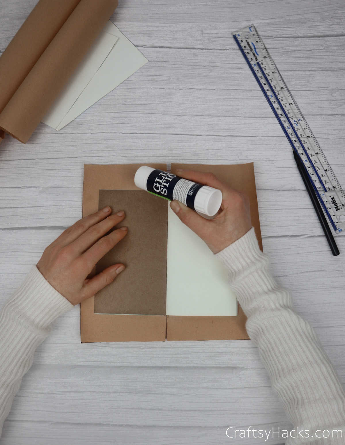 glueing other side of paper