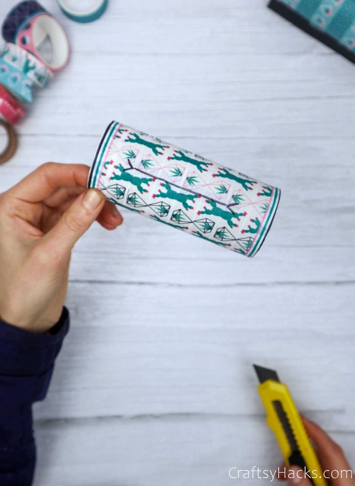 cutting hole in washi tape