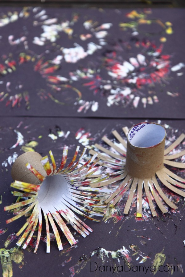 Easy Fireworks Painting for Kids