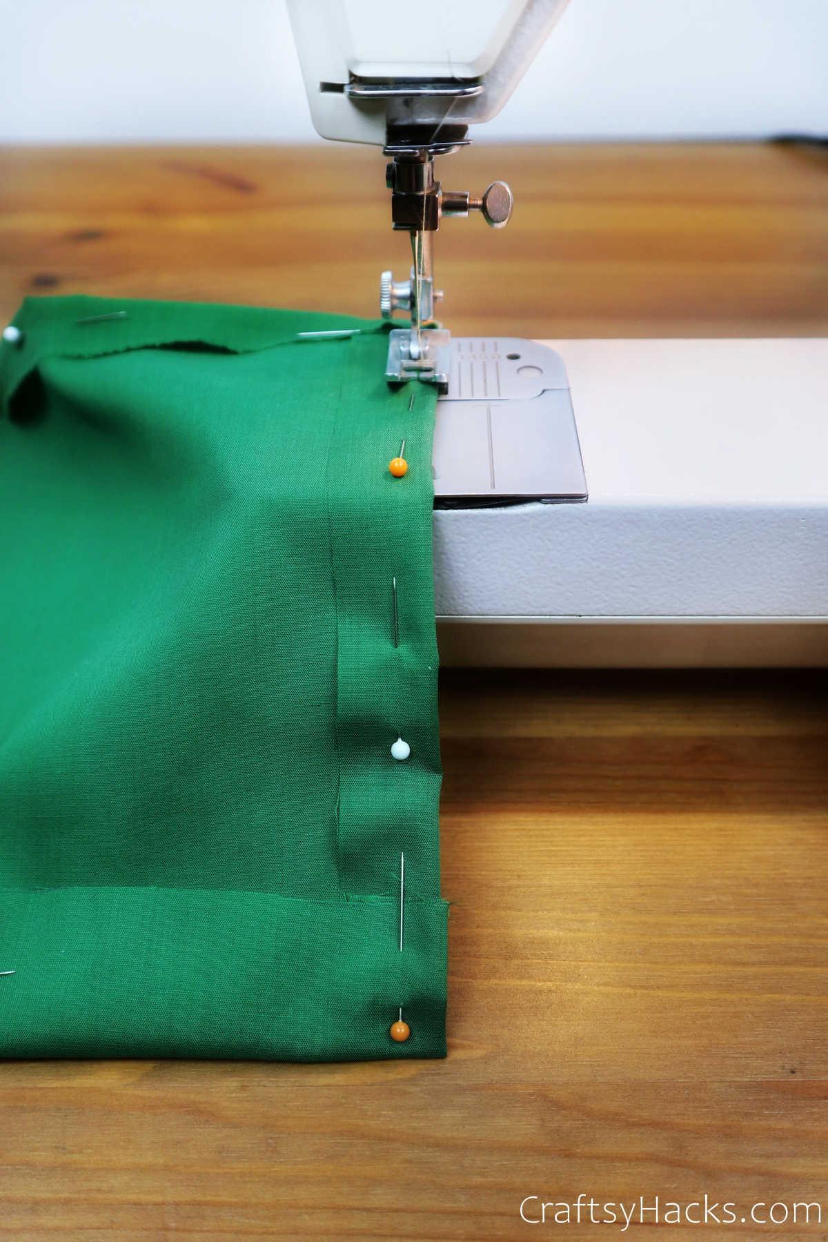 sewing green fabric