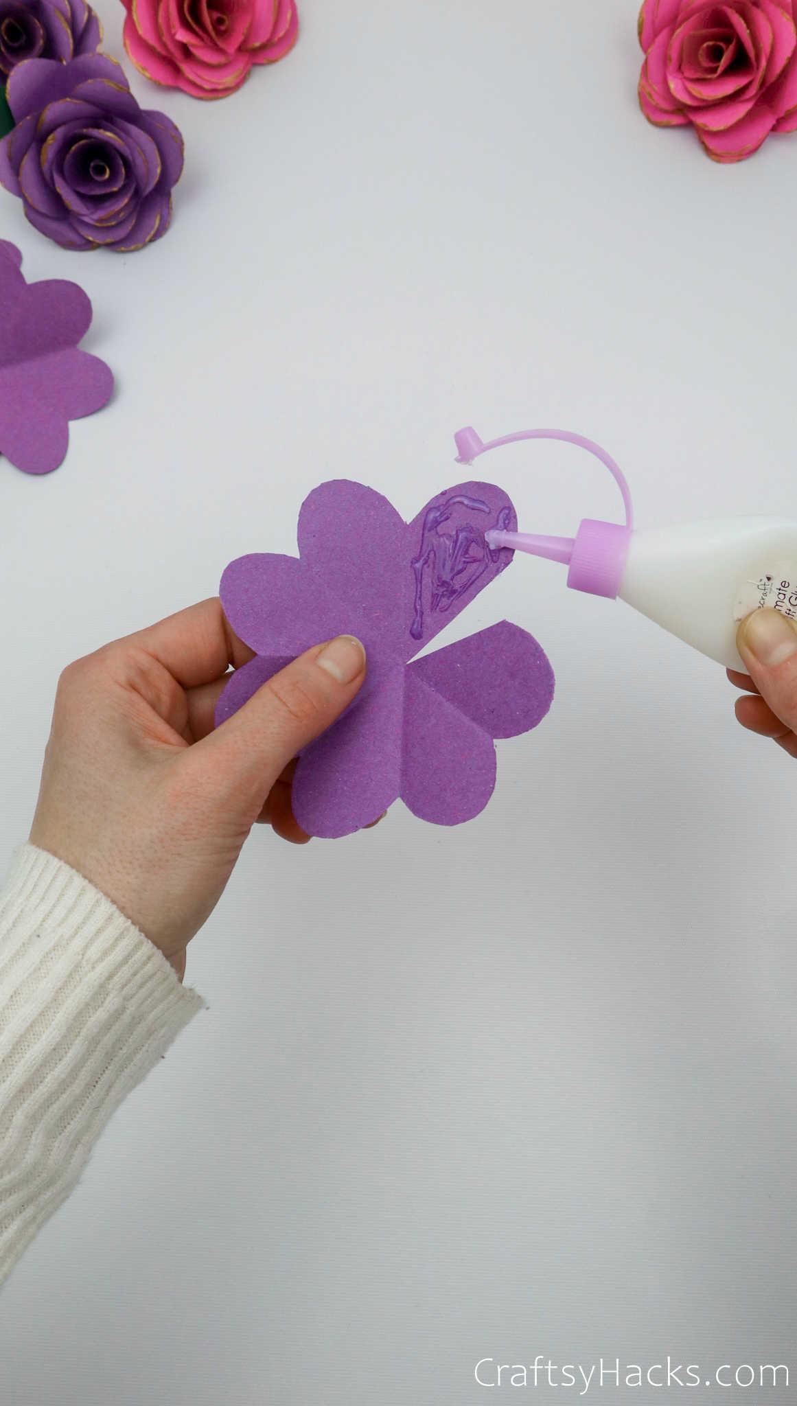 glueing paper petal