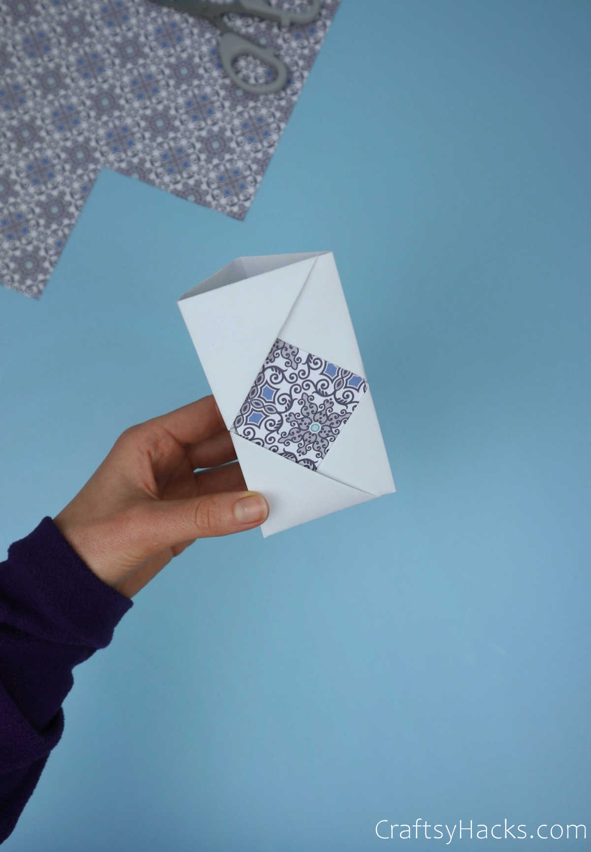 folded paper with pattern