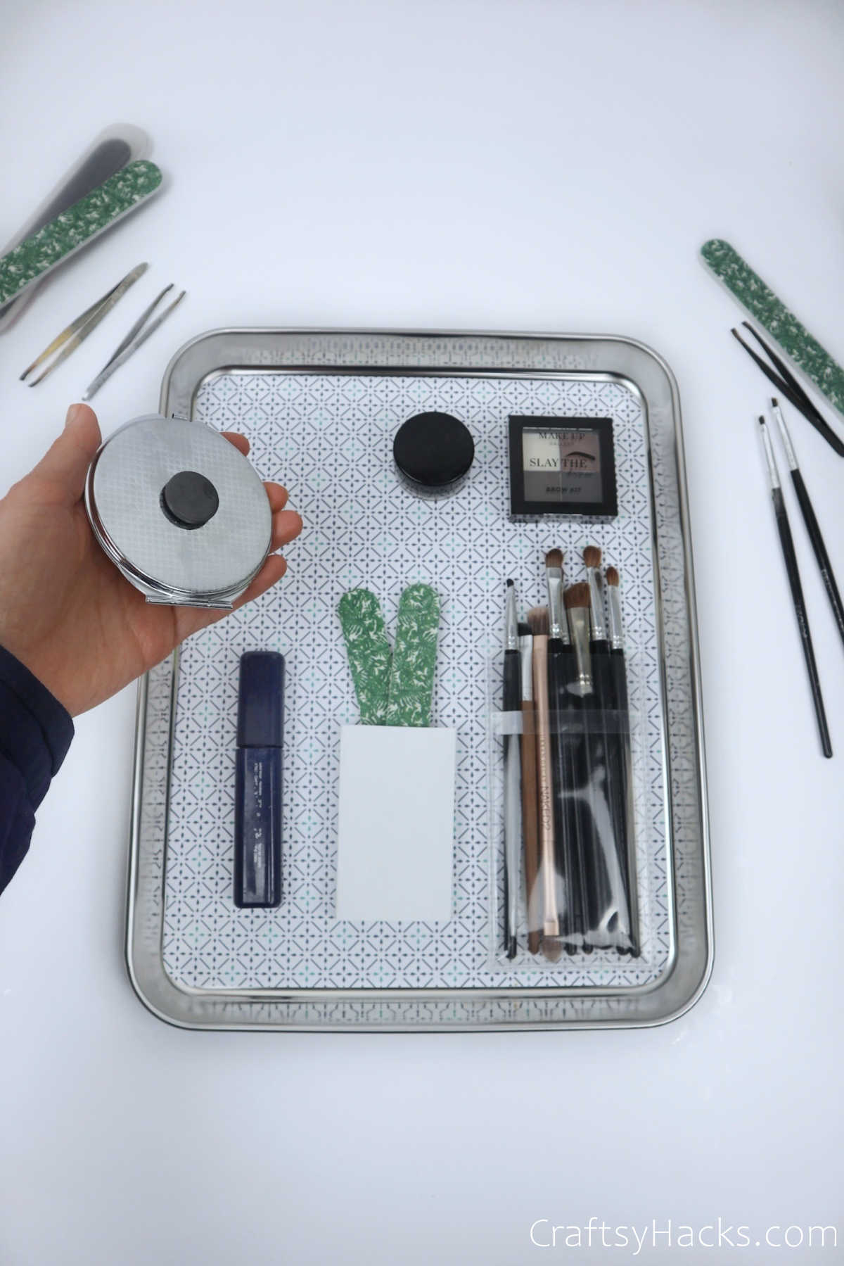 placing items on tray