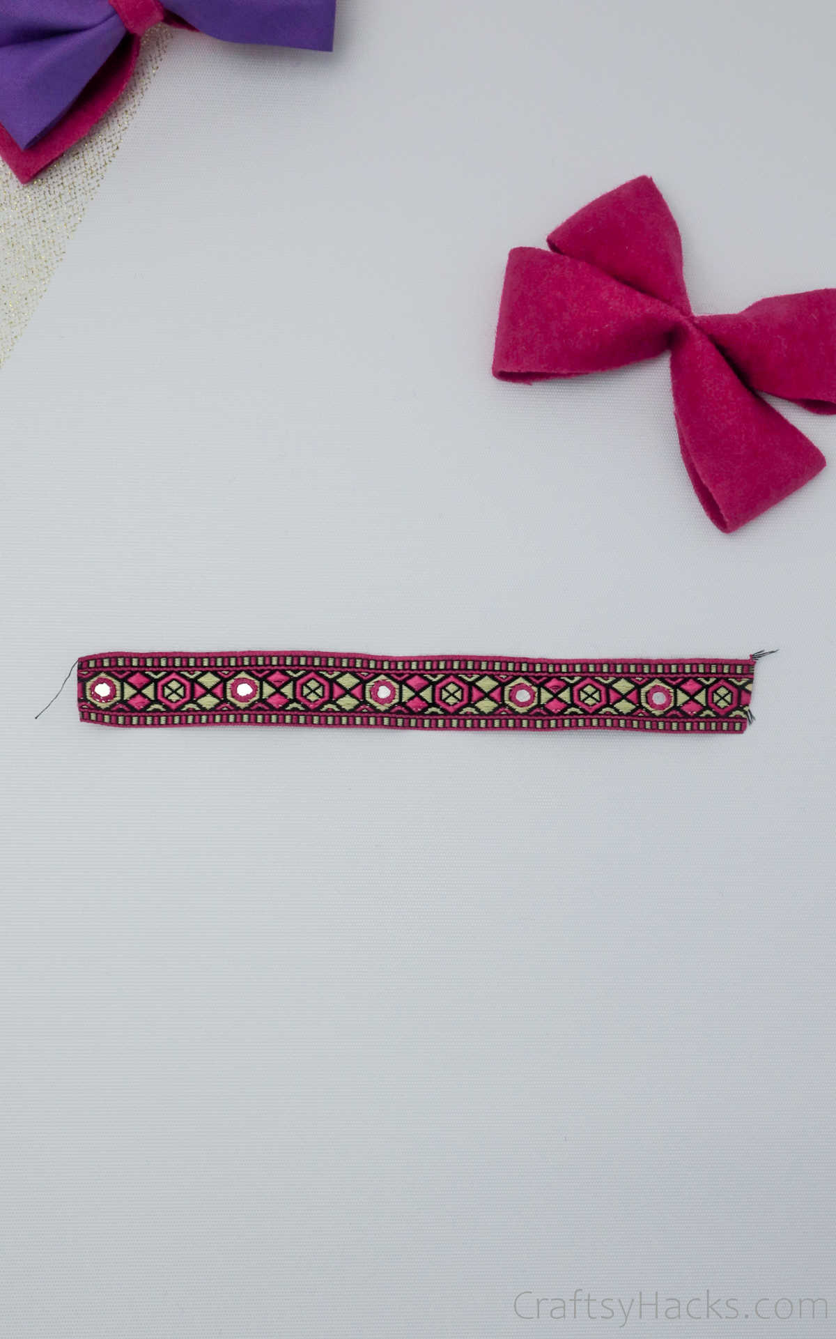 cut piece of ribbon