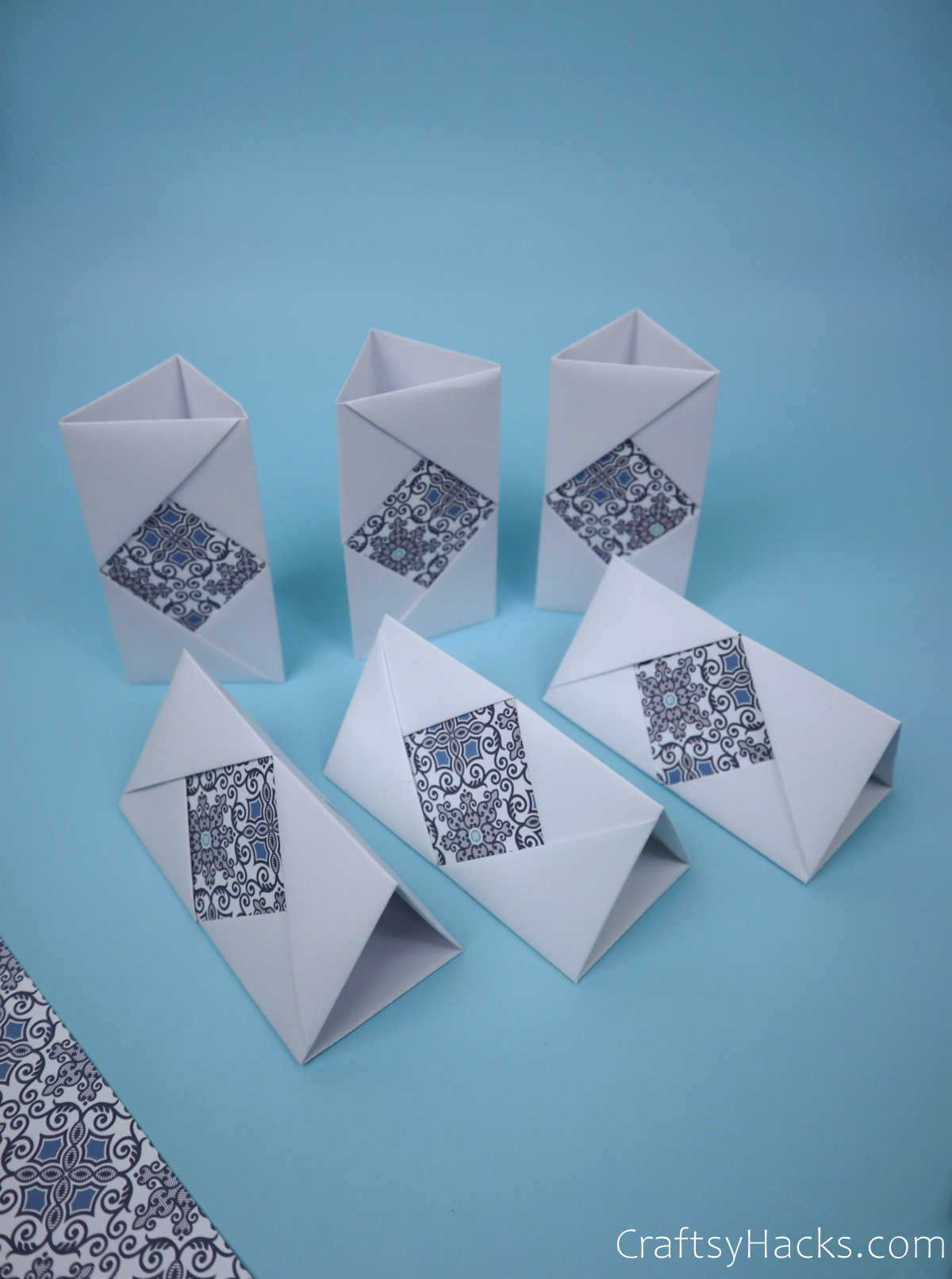 6 sections of folded paper