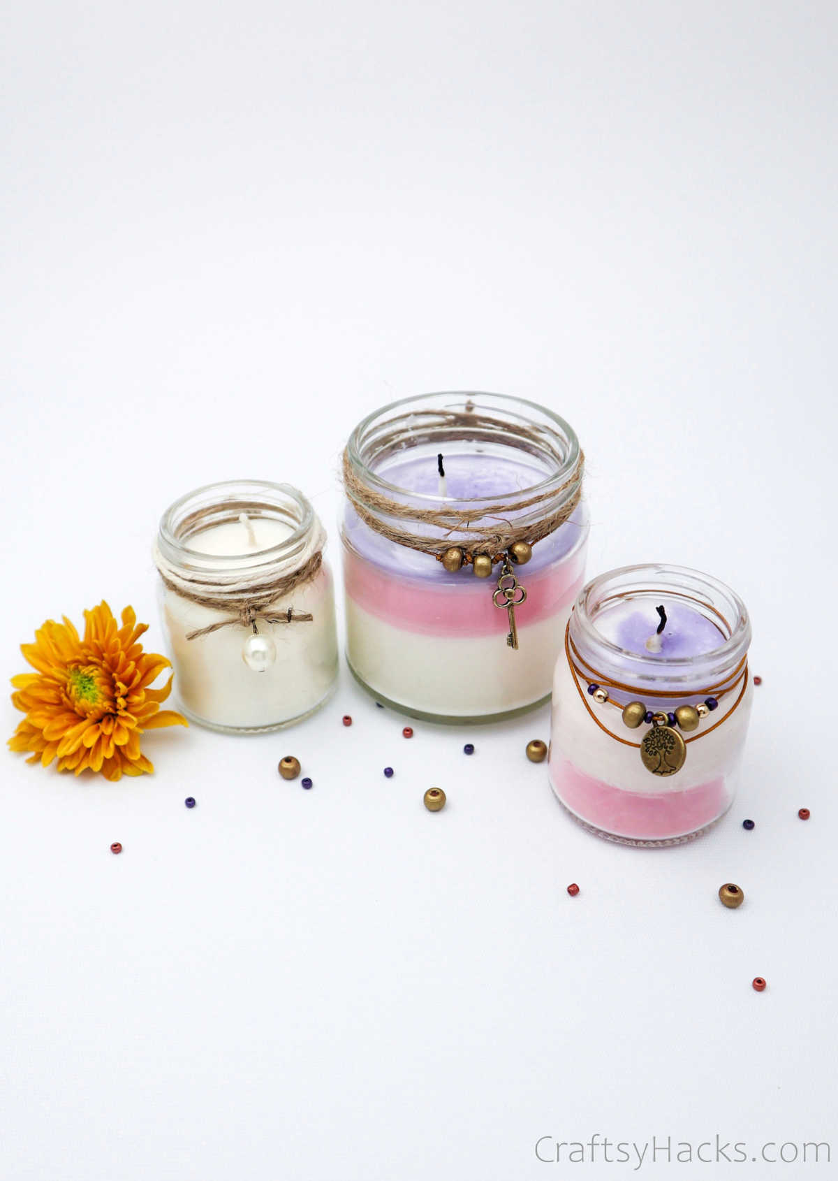 row of scented candles