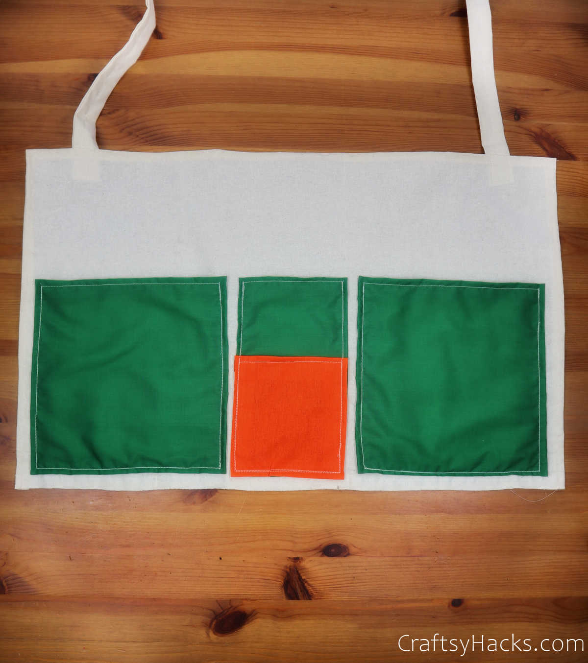 pockets sewn to fabric