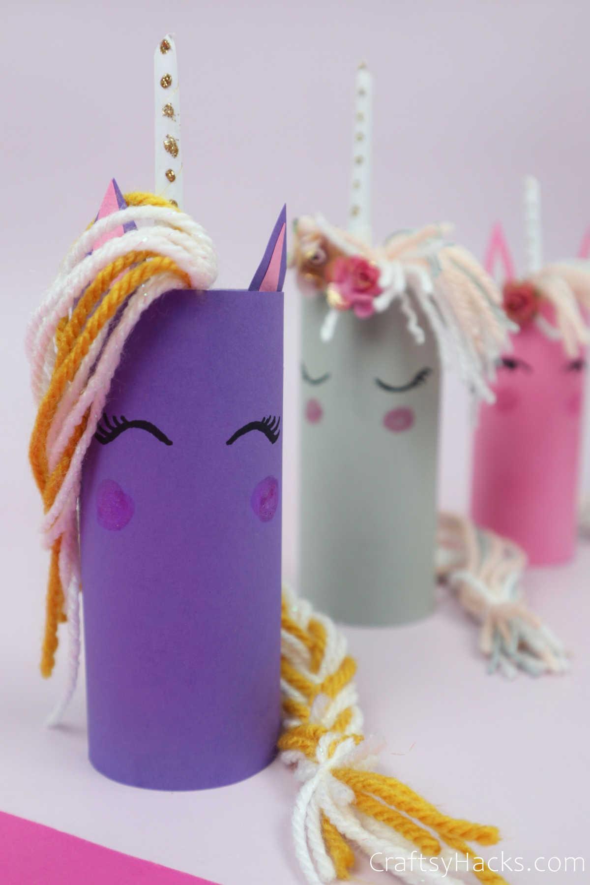three paper roll unicorns