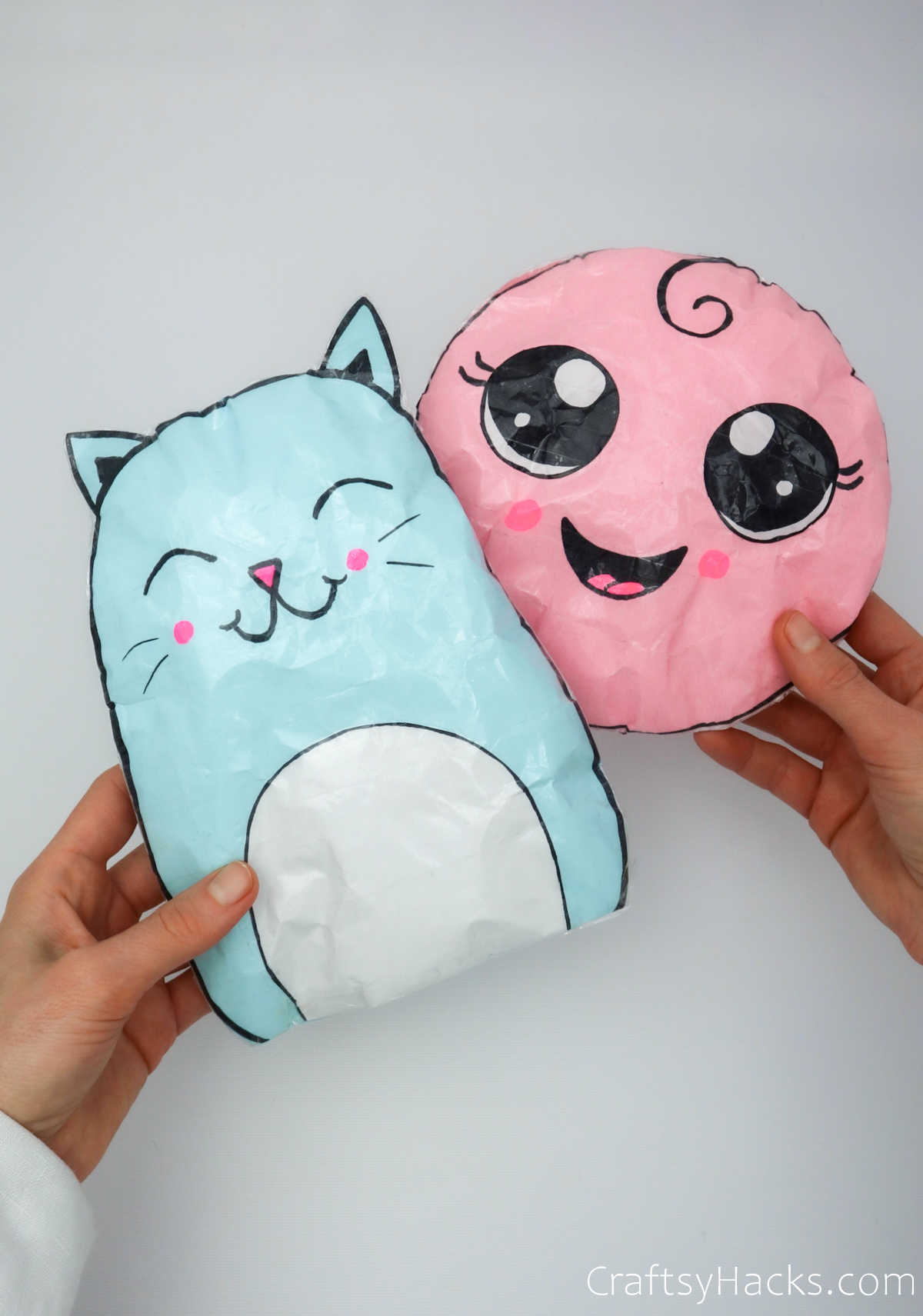 blue and pink paper squishies