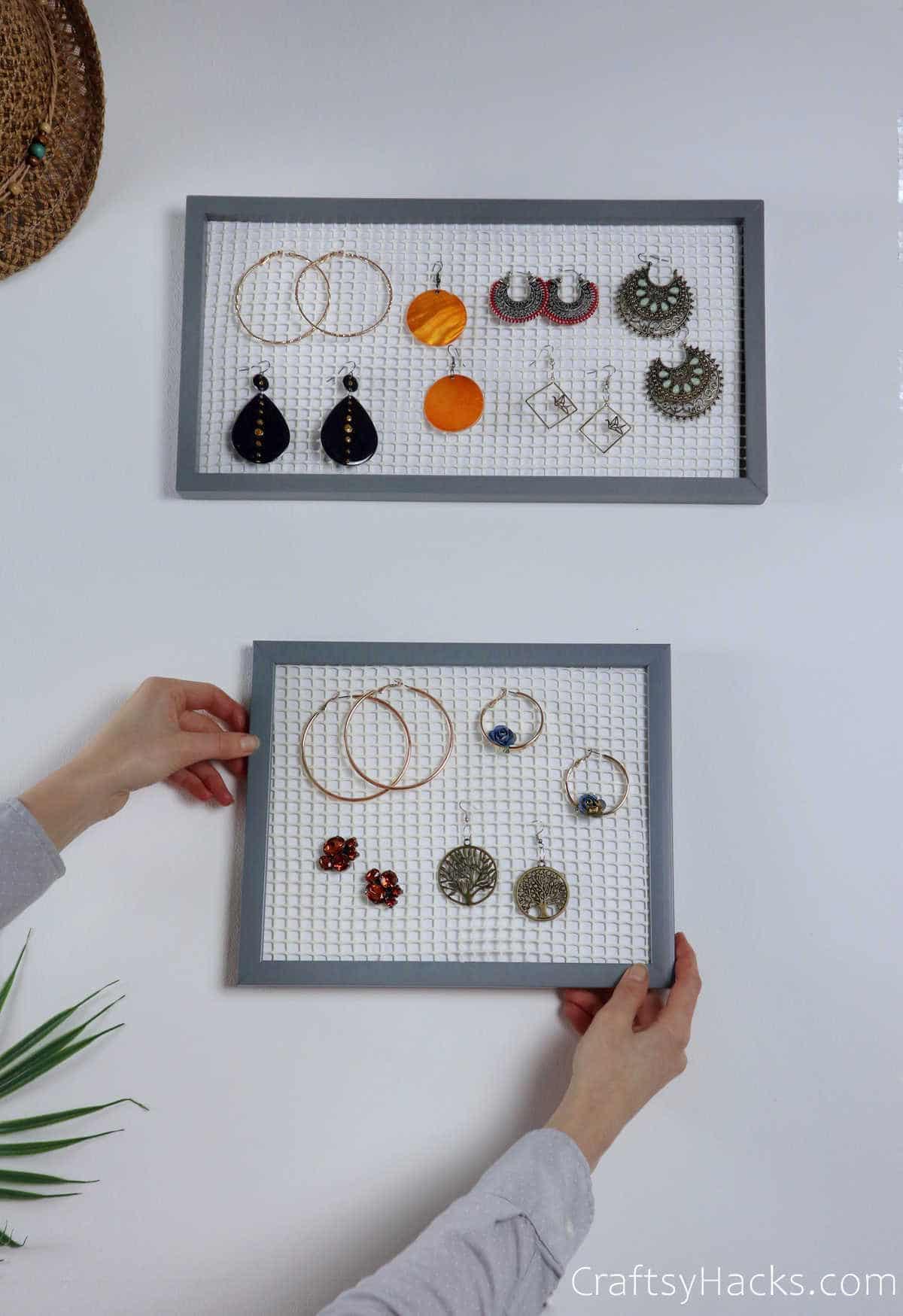 hanging diy earring holders