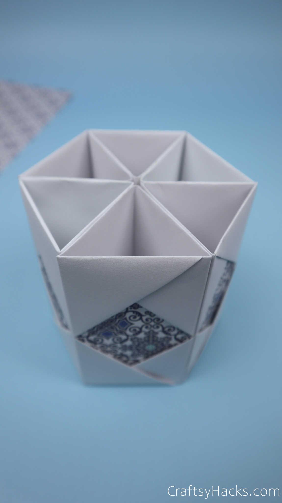 put together paper pencil holder