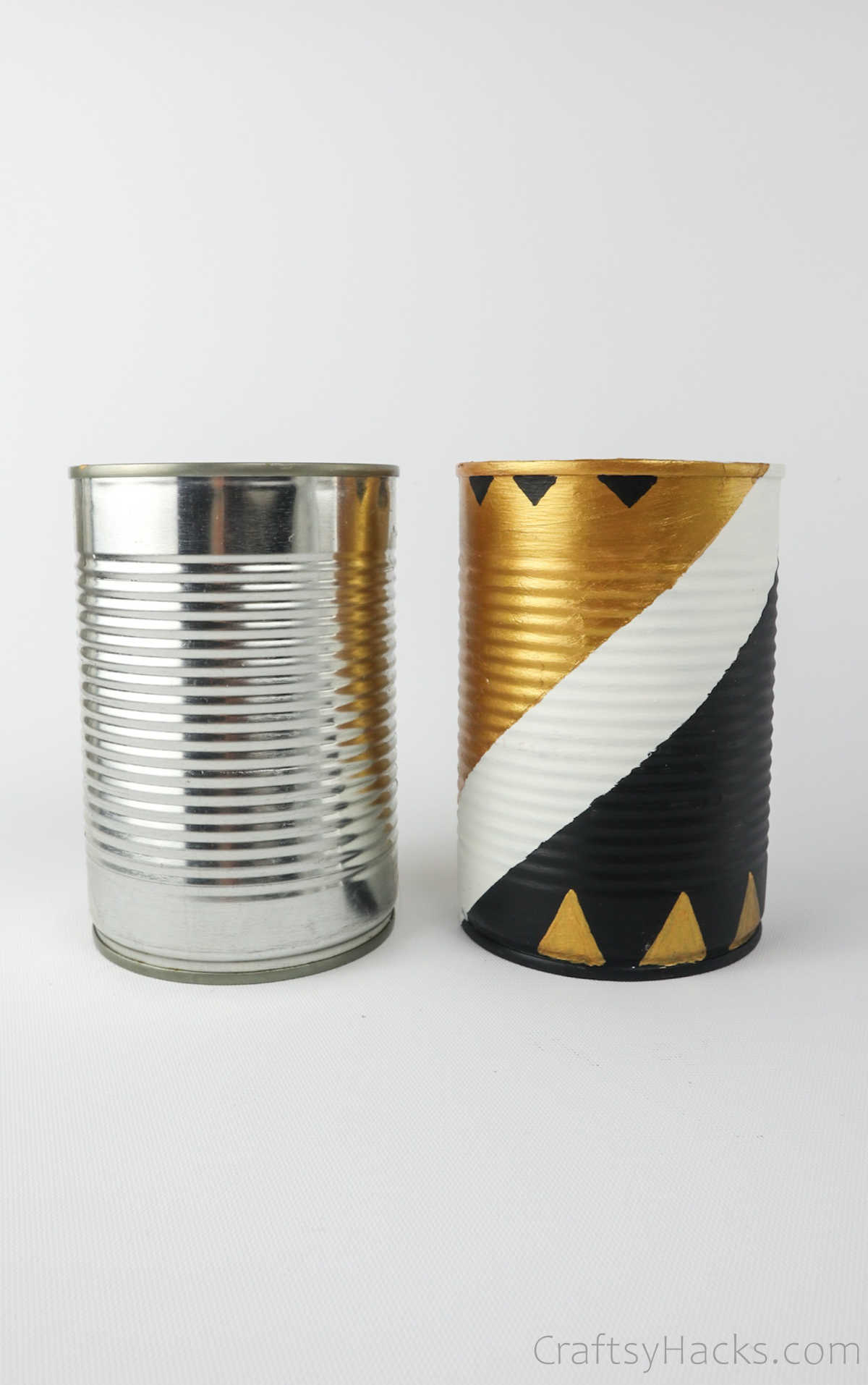 plain can side by side with painted can