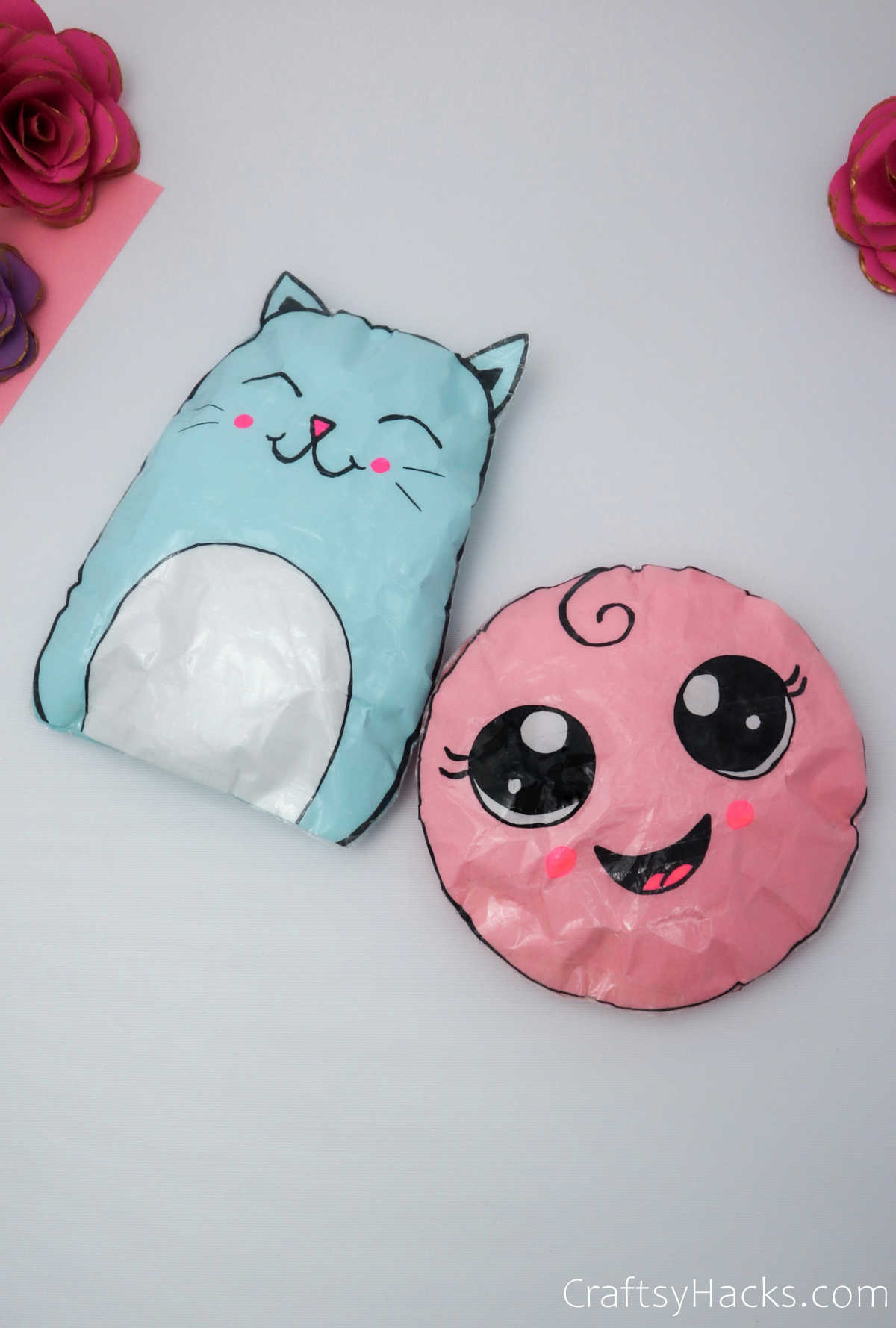 pink and blue squishies
