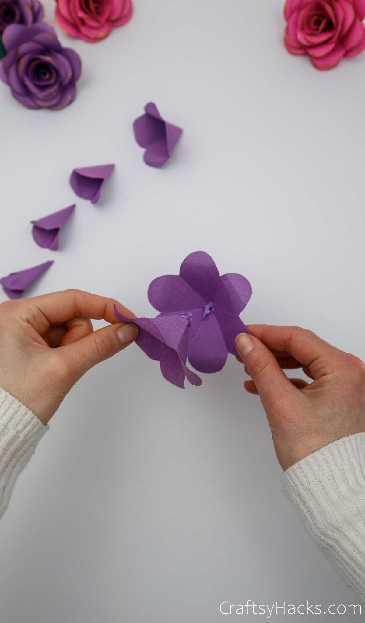 putting together paper flower