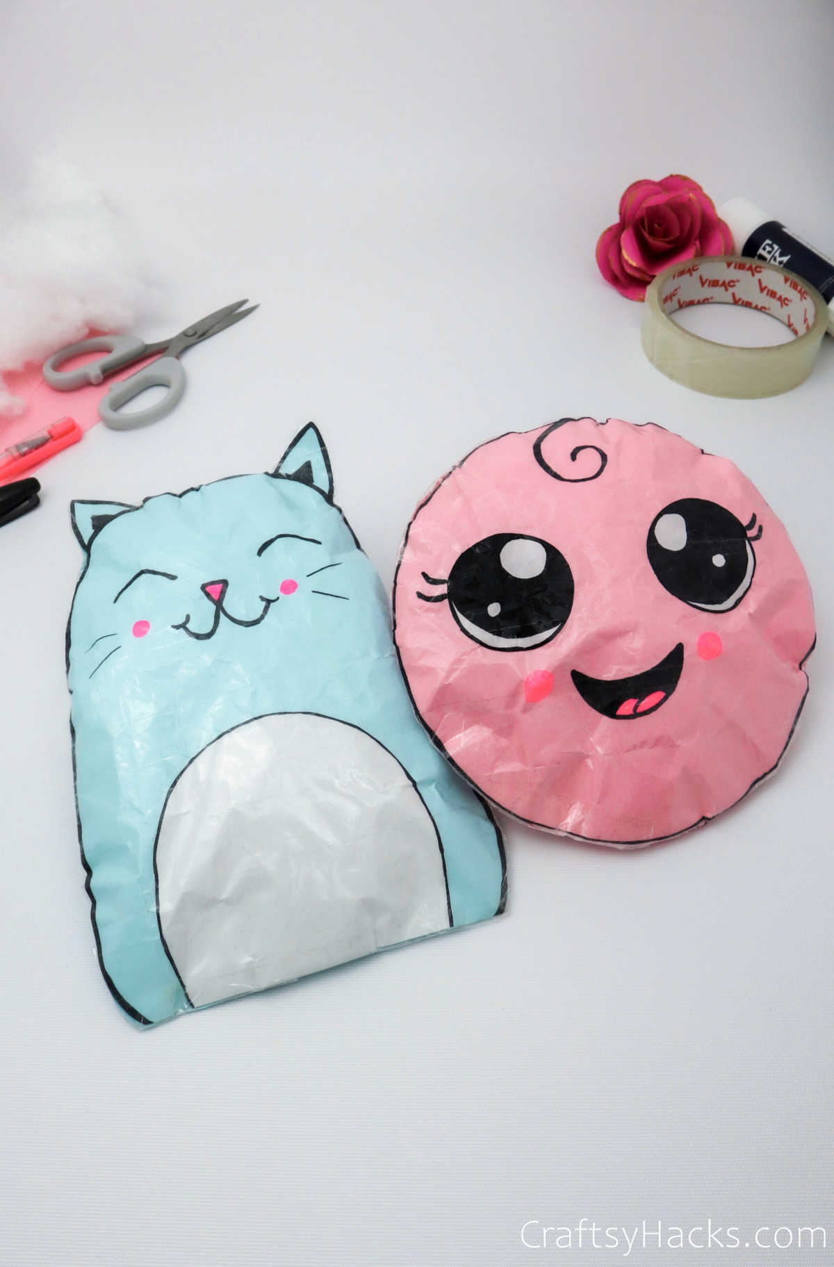 completed DIY paper squishies